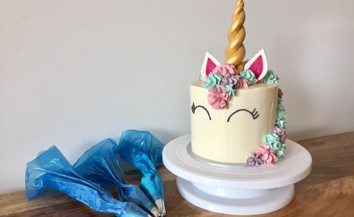 Raspberry & White Chocolate Unicorn Cake
