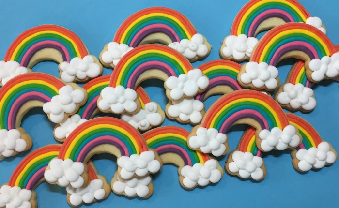 Rainbow Iced Cookies
